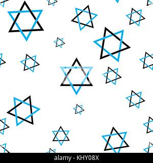 Star of David pattern seamless flat style for web vector illustration - Stock Image