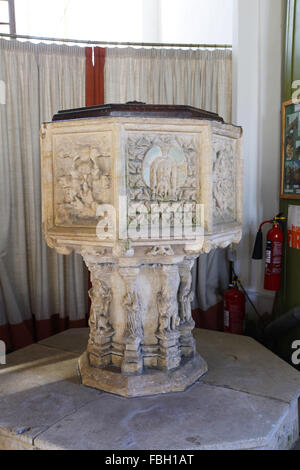 14th century font, St Michael's Church, Irstead, Norfolk - Stock Image