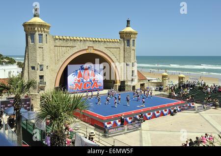 NCA Cheerleading competition underway on Daytona Beach Bandshell. Daytona Beach, Florida, USA - Stock Image