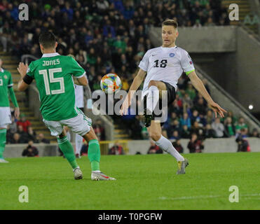 Belfast, UK. 21st Mar 2019. National Football Stadium at Windsor Park, Belfast, Northern Ireland. 21 March 2019. UEFA EURO 2020 Qualifier- Northern Ireland v Estonia. Action from tonight's game. Karol Mets (18) Estonia. Credit: David Hunter/Alamy Live News. - Stock Image