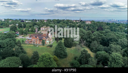 Aerial view of a Victorian village in a forest in North London - Stock Image