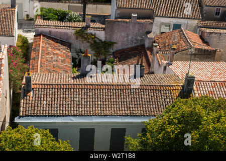 roofs of the houses in Saint Martin de re from above on a sunny day - Stock Image