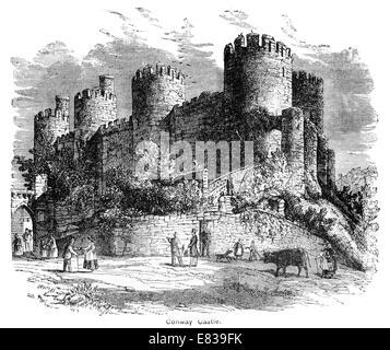 Conway castle circa 1885 - Stock Image