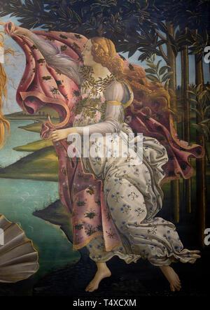 The Hora of Spring, Birth of Venus, detail, Sandro Botticelli, circa 1485, Galleria degli Uffizi, Uffizi Gallery, Florence, Tuscany, Italy - Stock Image