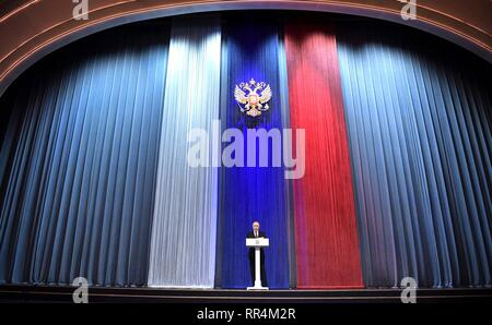 Moscow, Russia. 22nd Feb, 2019. Russian President Vladimir Putin delivers an address during a gala marking Defender of the Fatherland Day at the State Kremlin Palace February 22, 2019 in Moscow, Russia. Credit: Planetpix/Alamy Live News - Stock Image