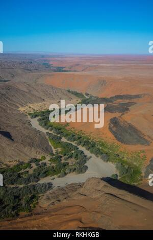 Aerial view of a green canyon on the edge of the Namib desert, Namibia - Stock Image