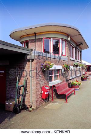 Art Deco Templecombe Station and Signal Box, Dorset, UK – 1991 - Stock Image