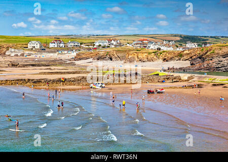 6 July 2018: Bude, Cornwall, UK - Crowds enjoying sun,sea and sand during the summer heatwave. - Stock Image