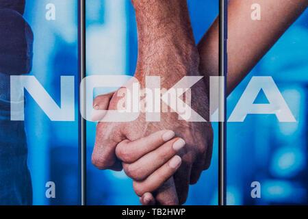 Cluj, Romania - May 13, 2019: Nokia Corporation, a Finnish multinational telecommunications, information technology, and consumer electronics company  - Stock Image