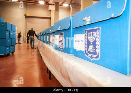 ROSH HAAYIN, ISRAEL. February 24, 2015. Blue ballot boxes for the IDF inside the Central Elections Committee office prior to parliamentary elections. - Stock Image