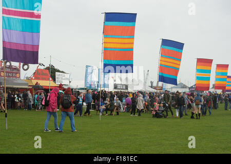 Portsmouth, UK. 29th August 2015. Victorious Festival - Saturday. Despite the rain crowds attended the Victorious - Stock Image