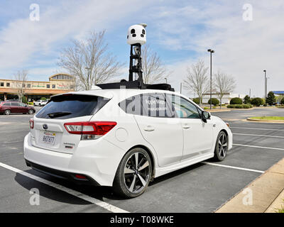 Apple maps mapping car parked in rural Pike Road Alabama, USA. - Stock Image