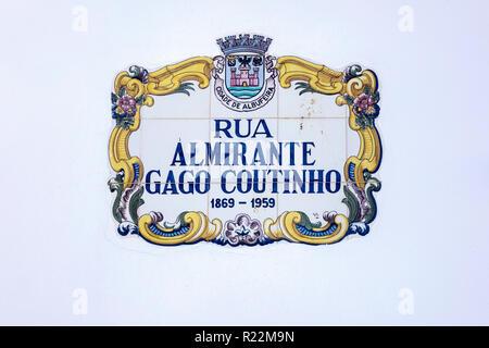 A Decorative Municipal Cermaic Street Sign For Rua Almirante Gago Coutinho The Algarve Albufeira Portugal - Stock Image
