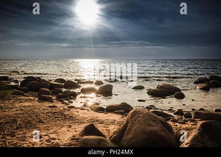 Rocky seacoast of the Baltic sea in LatviaRocky seacoast - Stock Image