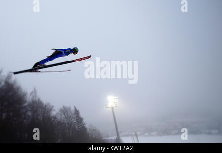 Bischofshofen, Austria. 05th, Jan 2018. Jelar Ziga from Slovenia competes during a training jump on day 7 of the - Stock Image