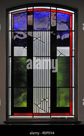 'Easter', North aisle window by Brian Clarke. Christ Church, Thornton-le-Fylde, Lancashire, England, United Kingdom, Europe. - Stock Image