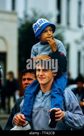 Chelsea FC supporters at Chelsea V Millwall football match 4 February 1985 at Chelsea, London England. 4 Feb 1985 - Stock Image