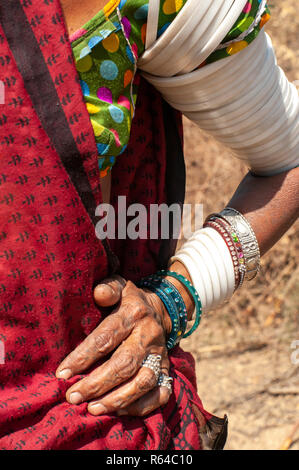 Rabari tribal woman hand jewellry - Stock Image