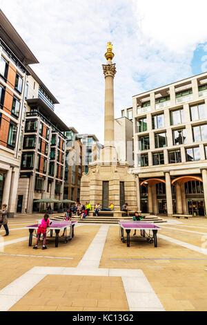Paternoster Square Column, London, England, Paternoster Square  London, England UK, Paternoster Square, London squares, - Stock Image