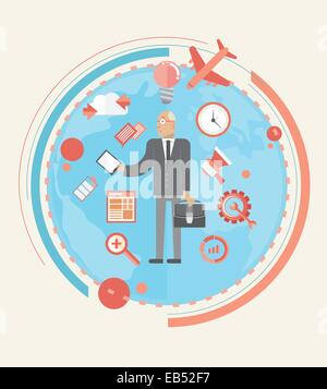 Businessman with various business icons - Stock Image