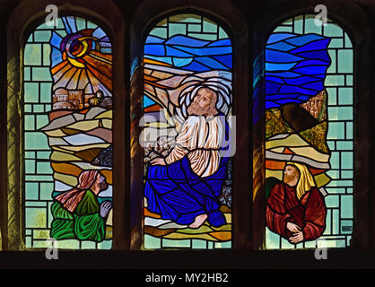 Christ with disciples, Clerestory stained glass window, Parish Church of Saint Kentigern, Great Crosthwaite, Lake District National Park, Cumbria. - Stock Image