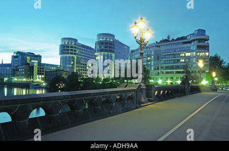 Berlin Moabit modern office builidings near ministry of interior Moabit bridge over river spree - Stock Image