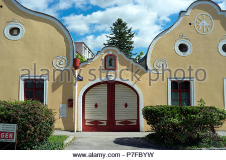 Period architecture in the city of Neunkirchen, in the Austrian state of Lower Austria. - Stock Image