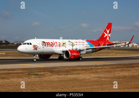 Air Malta Airbus A320neo commercial jet plane taxiing for departure from Malta. Advanced technology in modern civil aviation. - Stock Image