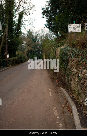 Road not suitable for charabancs or open topped bus - Stock Image