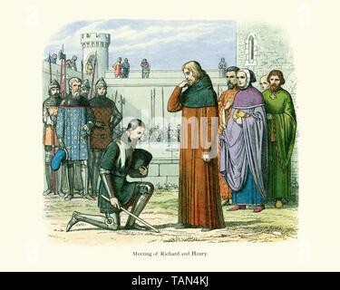 Henry Bollingbroke, Duke of Lancaster Kneeling before Richard II.  Bollingbroke usurped the throne while King Richard II was in Ireland. When Richard  - Stock Image
