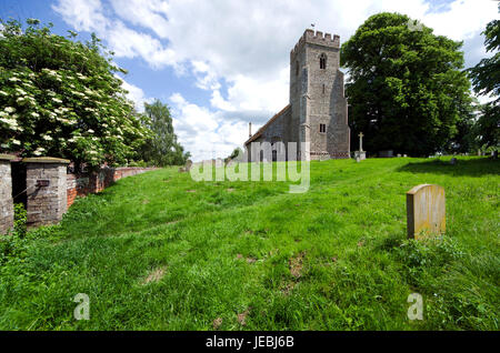 The Parish Church of St Andrews in the Essex village of Bulmer 4 miles west of Sudbury Dates from the 12th century - Stock Image