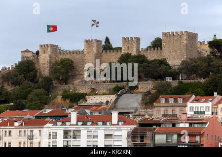 Sao Jorge Castle in Lisbon, Portugal, one of the main tourist sites of the city, constructed during the Moorish - Stock Image