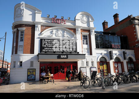 Ritzy Cinema and Bar outside view showing movies films in Brixton street scene South London UK  KATHY DEWITT - Stock Image