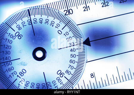 Goniometer movement medical instrument used for measuring mobility of joints, tendons nd ligaments of patients. - Stock Image