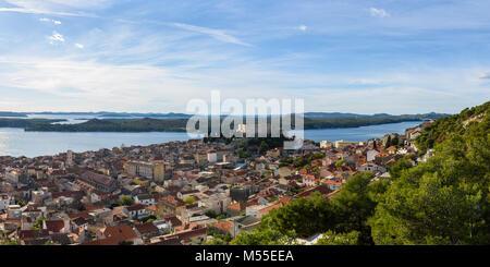 Panoramic view of St. Michael's Fortress and Sibenik, Croatia - Stock Image
