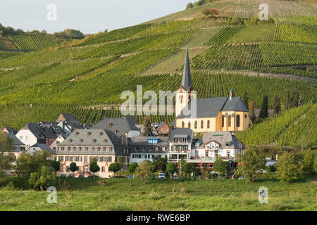 Zeltingen-Rachtig - a German wine village surrounded by vineyards next to the Moselle River in the Moselle Valley, Germany, Europe - Stock Image