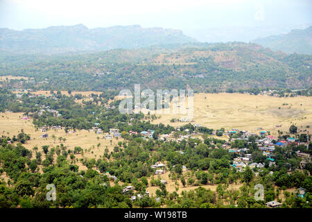 High angle view with agriculture land and Residential district - Stock Image