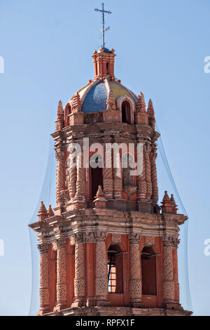 A bell tower on the baroque style Cathedral of San Luis Potosi in the historic center on the Plaza De Armas in the state capital of San Luis Potosi, Mexico. Also known as the San Luis Potosi Metropolitan Cathedral, it is consider the most important monument in the state and the first Baroque style building constructed in 1670 on the site of a parish church first built in 1593. - Stock Image