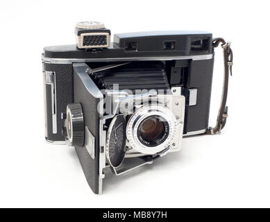 Polaroid Pathfinder Instant Film Land Camera, Model 110A with a Rodenstock Ysarex 127mm f/4.7 lens, in a Prontor SVS shutter. - Stock Image