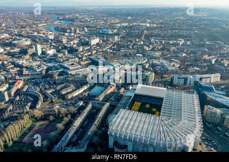 Newcastle upon Tyne aerial view city skyline on the River Tyne in northeast England feat. Newcastle United stadium St James Park with landmarks - Stock Image