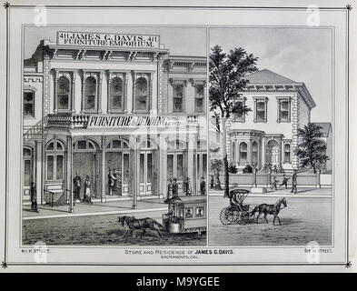 Sacramento County California - 1880 - Thompson & West Print - - Stock Image