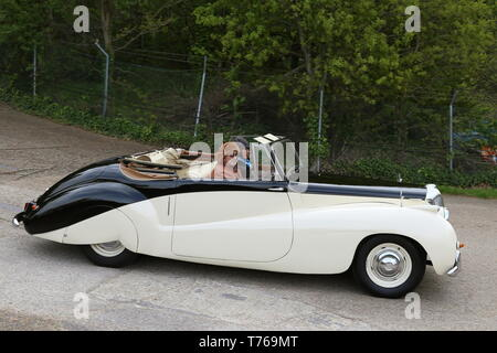 Daimler 2.5 Special Sports Convertible (1951), British Marques Day, 28 April 2019, Brooklands Museum, Weybridge, Surrey, England, Great Britain, UK, E - Stock Image