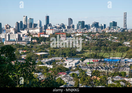 City CBD skyline of Brisbane, the Queensland state capital from Eildon Hill, Windsor, Queensland, Australia - Stock Image
