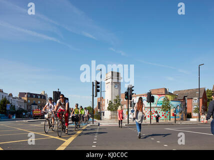 Stockwell War Memorial with bicycle lane and intersection. Stockwell Framework Masterplan, London, United Kingdom. - Stock Image
