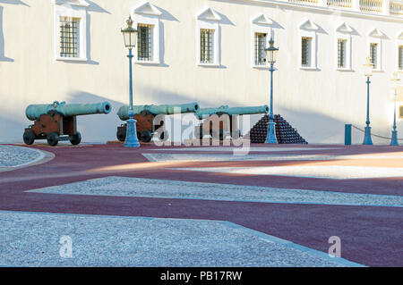 Cannons in front of Prince's Palace of Monaco, French Riviera - Stock Image