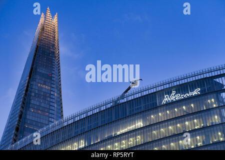 Shard Skyscfraper building and News UK office in Southwark, London, England, UK - Stock Image