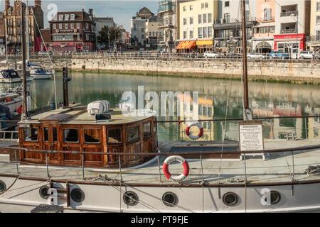 The 'Sundowner' Boat, used in the Dunkirk Evacuation, WW2, Ramsgate Harbour, Kent, UK - Stock Image
