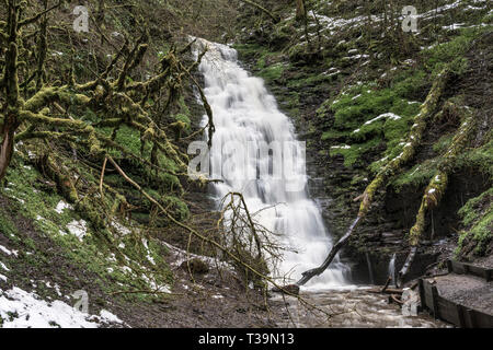 The waterfall of Water-Break-Its-Neck, near New Radnor, Presteigne, Powys, UK - Stock Image