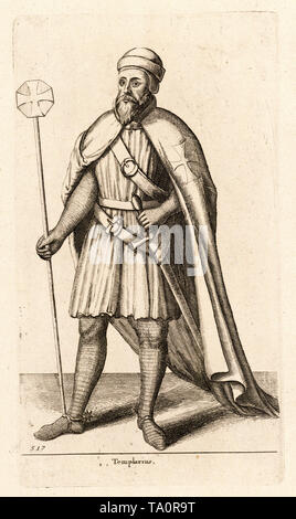 Templarius, a medieval knight of the Knights Templar, engraving by Wenceslaus Hollar, 17th Century - Stock Image
