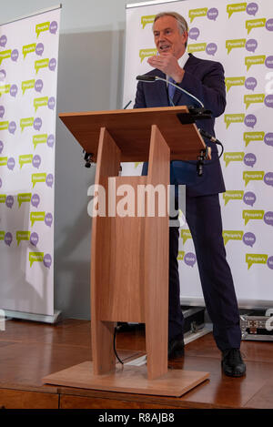 London, United Kingdom. 14 December 2018. Former Prime Minister Tony Blair makes a speech on the Brexit chaos and his views on the best way forward for the United Kingdom and Europe. Credit: Peter Manning/Alamy Live News - Stock Image